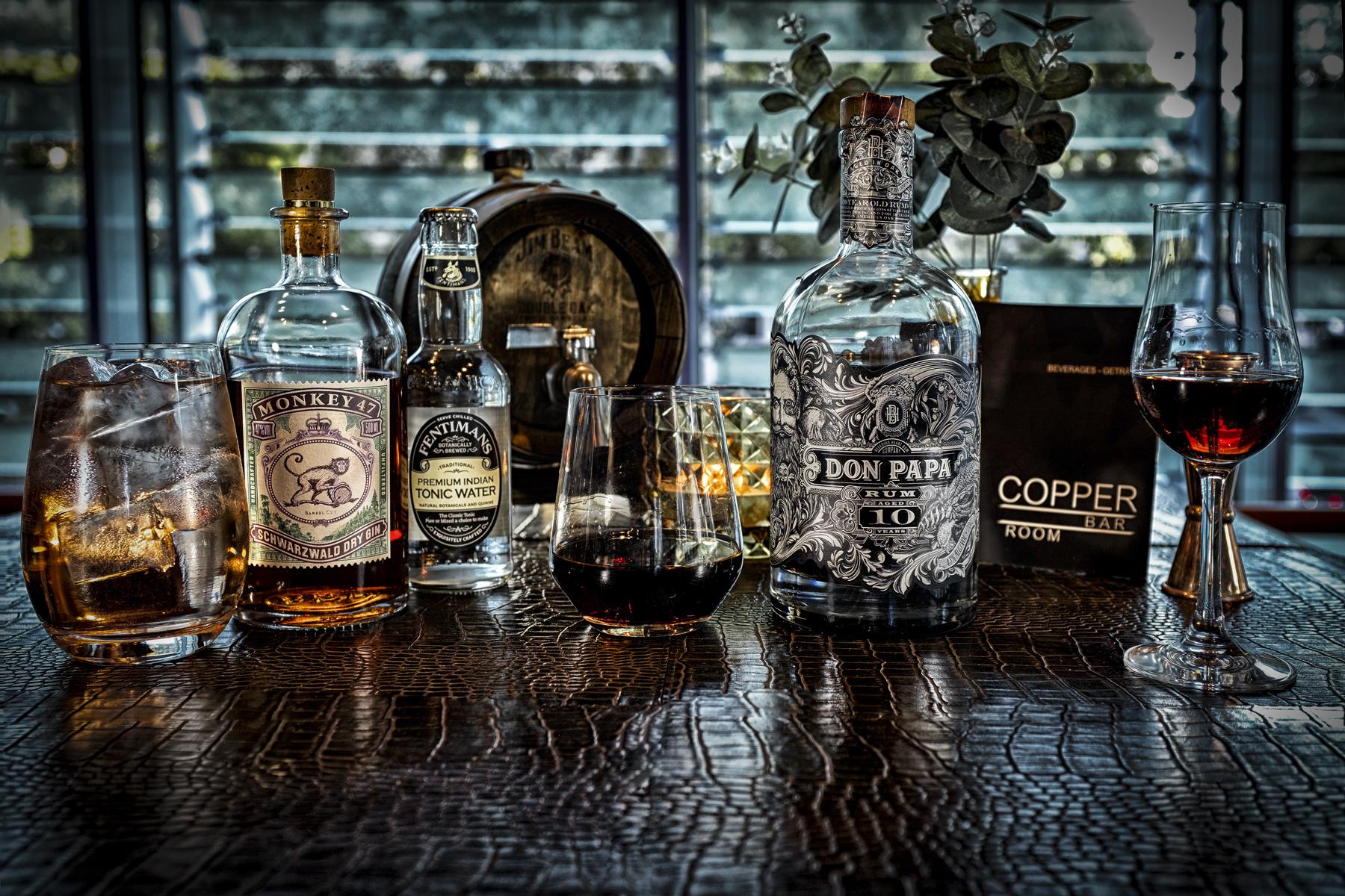 copper bar frankfurt drinks  monkey 47 gin barrel cut don papa rum 10y