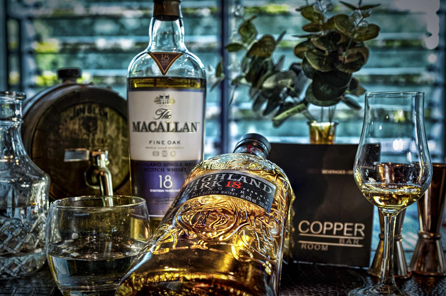 copper bar frankfurt drinks  highland park macallan 18y single malt scotch whisky